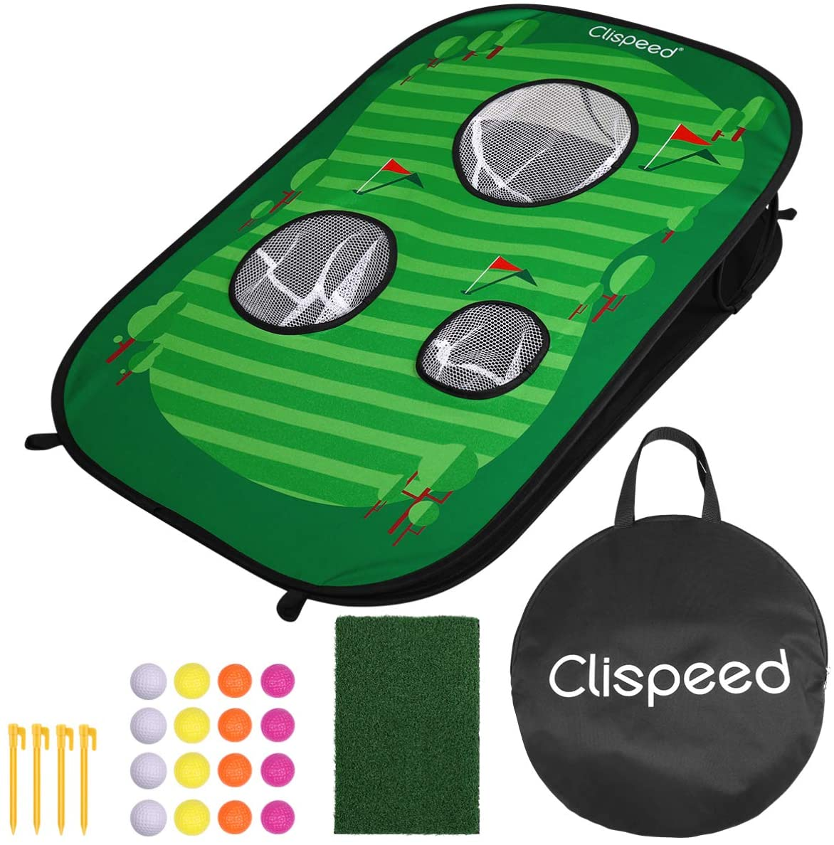CLISPEED Lightweight Foldable Golf Chipping Net Golf Target Net Cornhole Game Set for Golfing Practice Game Training Home Outdoor Indoor Sport