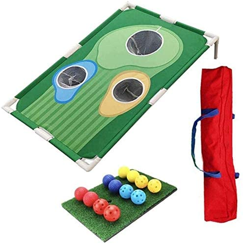 DAmeng Golf Portable Cornhole Game | Golf Chipping Net Golf Putting Mat 12 Training Balls | Indoor or Outdoor Tailgate or Backyard | Great Gift for Men or Any Golfer