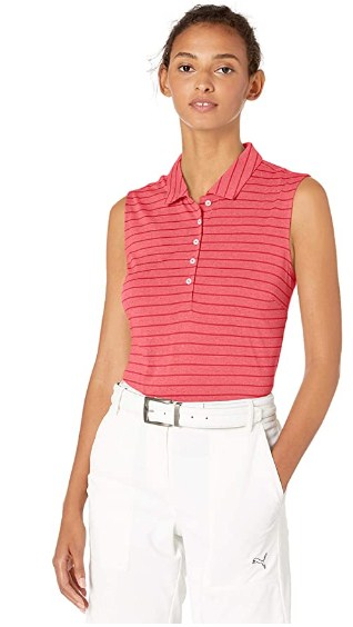 PUMA Womens 2019 Rotation Stripe Sleeveless Polo